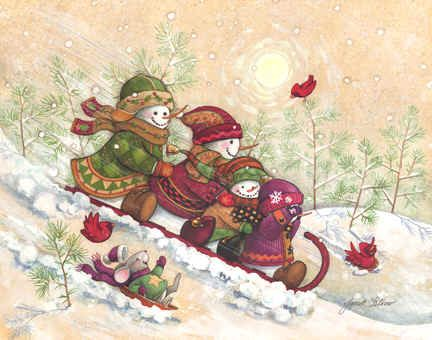 """""""All Downhill From Here"""" by Janet Stever, artist and illustrator, from the Snow Family Series."""