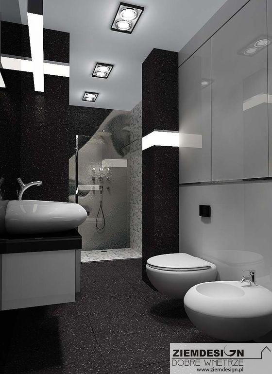 Łazienka czarno biała z wstawkami pasów świetlnych