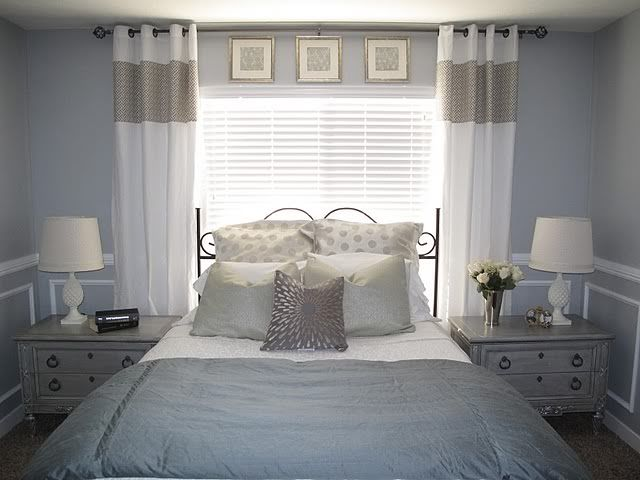 Pics above window, window as headboard, and valance set high. Love. Love. love colors, too.