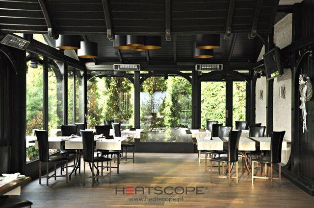 """Infrared heaters Heatscope Spot in Restaurant in Cracow """"Trzej Kucharze""""."""