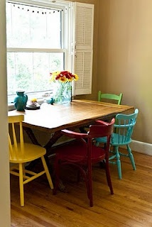 Mismatched chairs - love this idea!