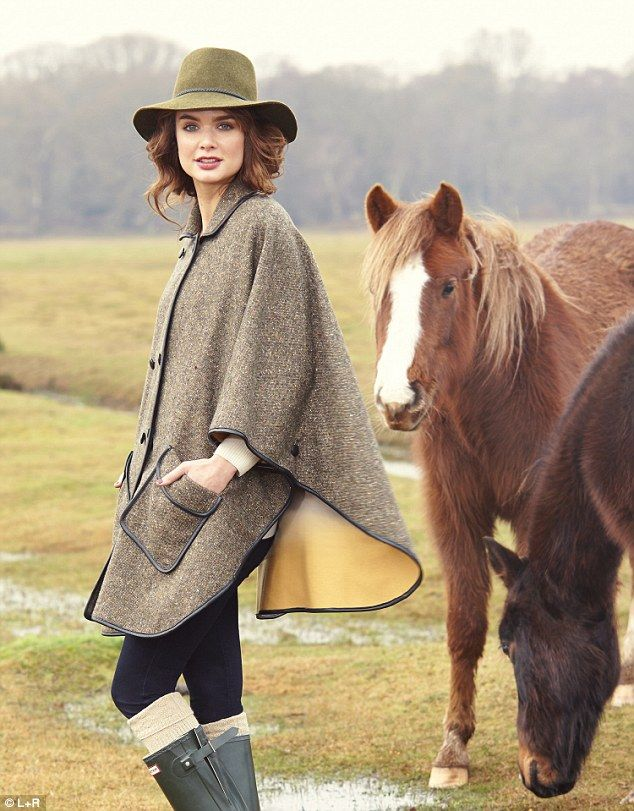 Green hat, £59, reiss.com; Tweed cape, £299, jaeger.co.uk; Jeans, £143, mih-jeans.com; Socks, £6, bhs.co.uk; Wellingtons, £79, hunter-boot.c...