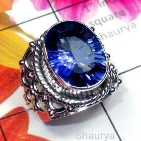 Silver Ring, Designer Ring, Handmade RIng, Blue Mystic Ring, Mystic Ring, Women Ring, - SDR985-O
