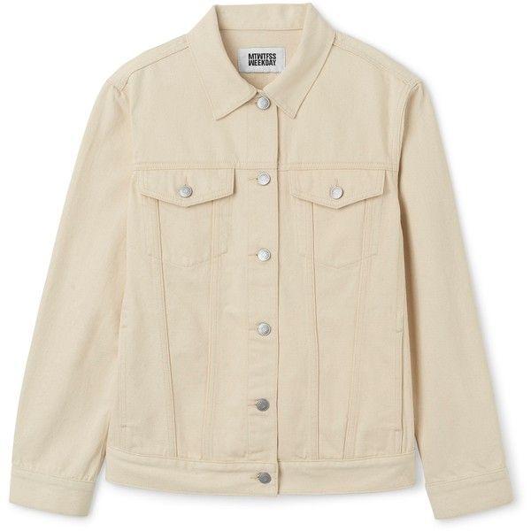 Double Denim Jacket Ecru ($72) ❤ liked on Polyvore featuring outerwear, jackets, coats & jackets, denim jacket, denim, brown jean jacket, brown jacket, jean jacket and brown denim jacket