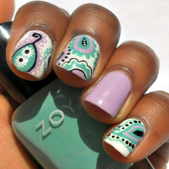 paisley nailsNails Art, Mint Nails, Nailart, Nails Design, Spring Colors, Mint Green Nails, Paisley Nails, Art Supplies, Nail Art