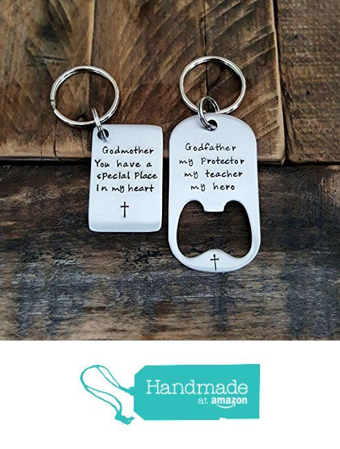 Godmother Godfather gift hand stamped keychain set stainless steel bottle opener and tag Godparent Gift from CMKreations https://www.amazon.com/dp/B016TQ4E00/ref=hnd_sw_r_pi_dp_A4bPwbVPAKXV3 #handmadeatamazon
