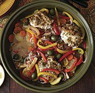 Tangy Fish Tagine with Preserved Lemons, Olives, and Vegetables