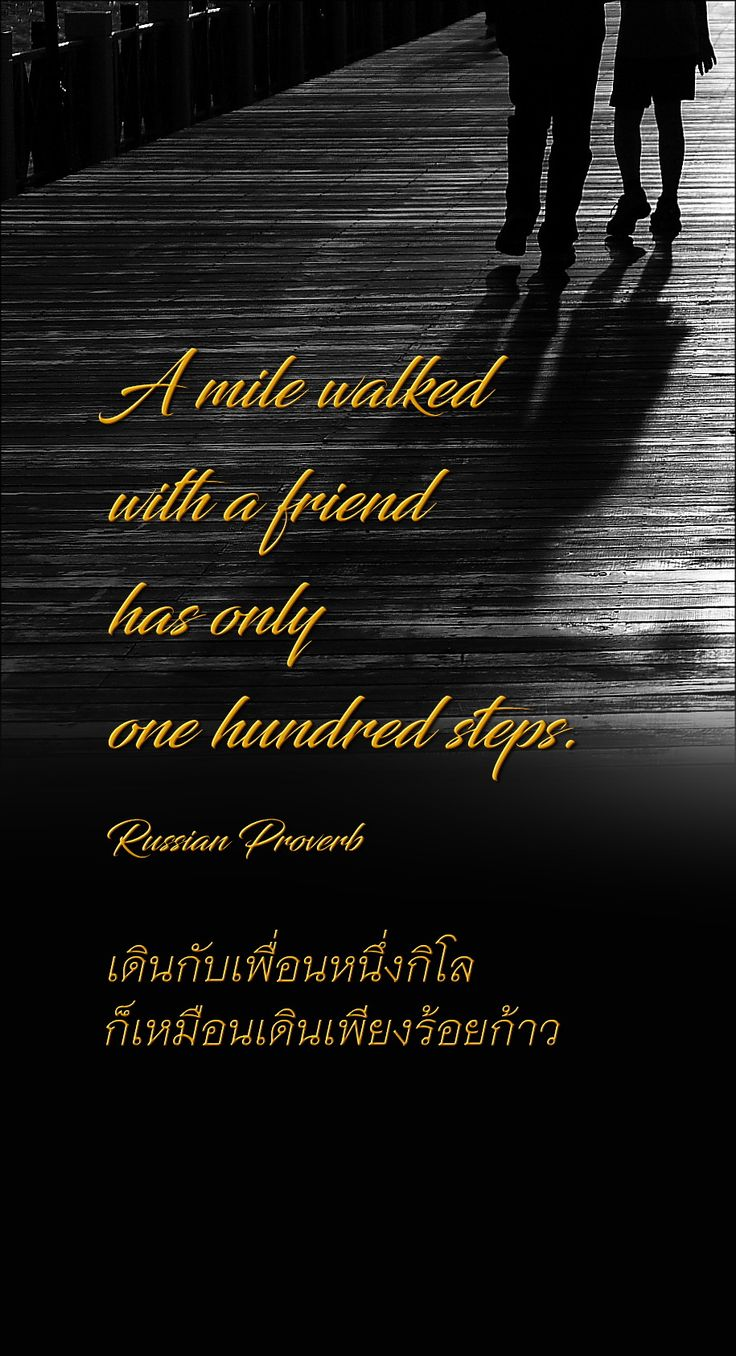 A mile walked with a friend has only one hundred steps.  Russian Proverb