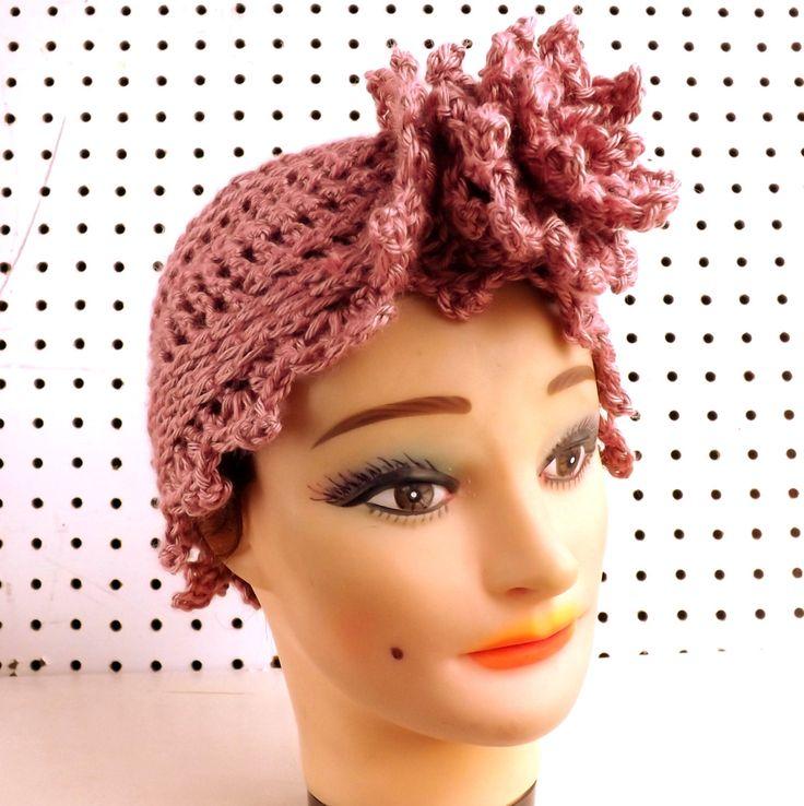 Crochet Hat Womens Hat ALEJANDRA Fashion Turban Hat Crochet Flower Plum Wine Pink Hat by strawberrycouture on Etsy 45.00 USD