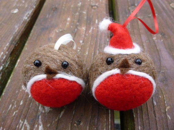 Handmade Needle Felted Robin bauble Christmas by SarahJaneColeby