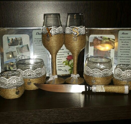 Rustic set with knife.