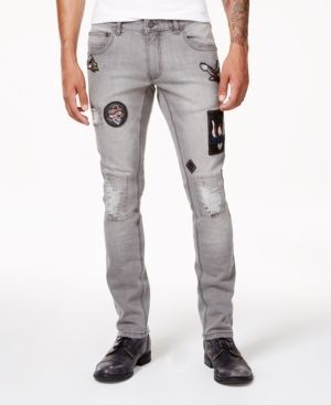Anna Sui x Inc International Concepts Men's Gray Ripped Patch Jeans, Created for Macy's - Gray