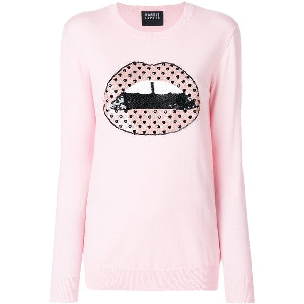 Markus Lupfer Alex lips jumper (£330) ❤ liked on Polyvore featuring tops, sweaters, polka dot top, pale pink top, pale pink sweater, long sleeve sweater and long sleeve jumper