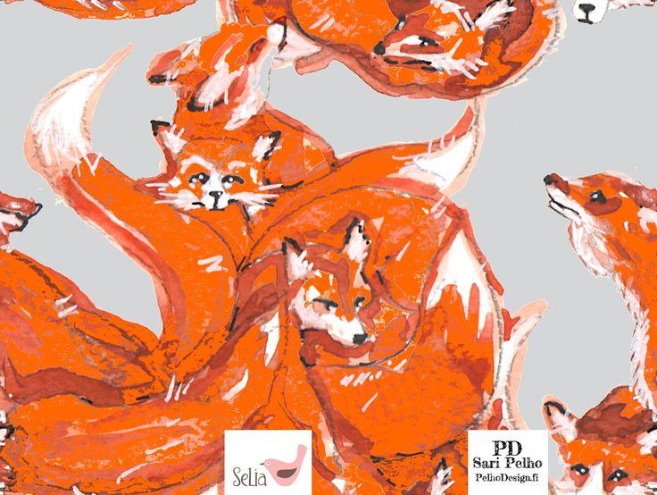 Seliashop FoxLove-jersey.Yksi kettukasa on 25 cm. Kuvassa Oranssi resori, Helmenharmaa resori, Musta resori Valmistuttaja: Selia, kuosin suunnitellut Sari Pelho /PelhoDesign Neliöpaino: 200g / m2 Leveys: n. 165 cm Materiaalitiedot: 95 % puuvillaa (öko-tex 100), 5 % lycra Pesu: 40 asteessa nurin käännettynä samanväristen kanssa/erillään. Kutistuvuus: 1 – 5%. Valmistettu euroopassa. Kankaat myydään 0,1m tarkkuudella eli ostaessasi...