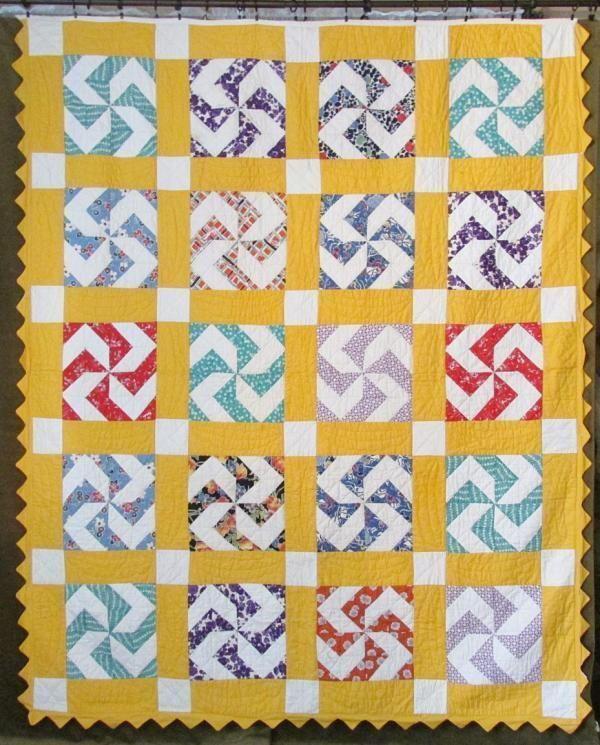 VINTAGE 30-40s Pinwheel Yellow + Novelty Feedsack QUILT
