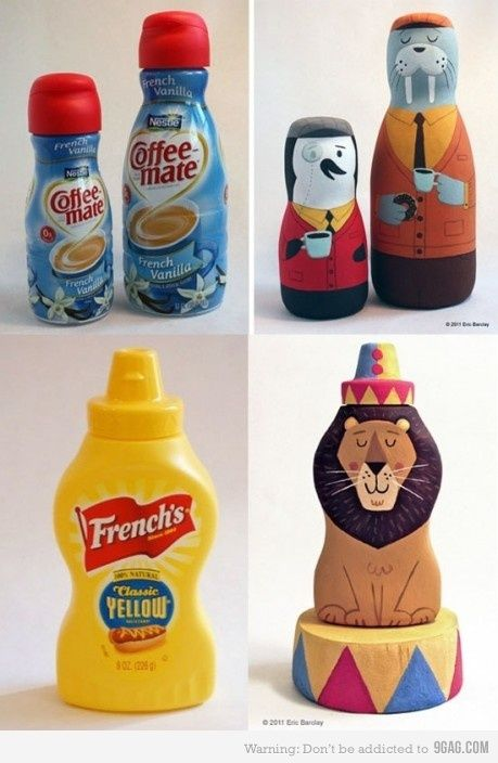 The illustrator Eric Barclay recycles and transforms packaging into works of art. So many awesome designs on his blog: http://ericbarclay.blogspot.com/ and his illustrations: www.ericbarclay.com