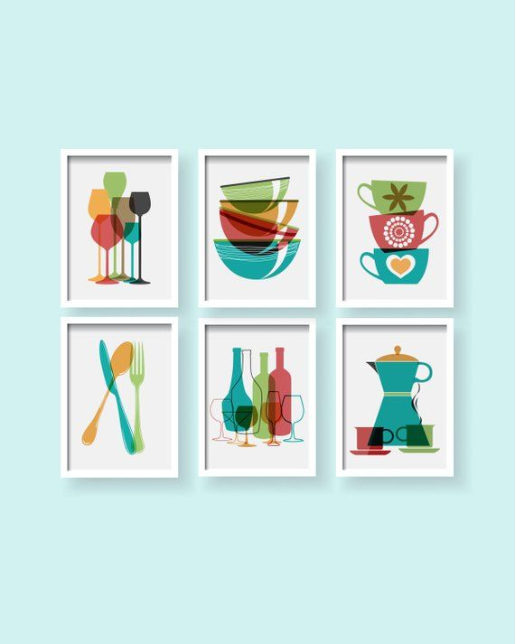 Modern Kitchen Prints Dining Room Wall Art Modern Kitchen Etsy Colorful Kitchen Decor Colorful Kitchen Art Etsy Wall Art