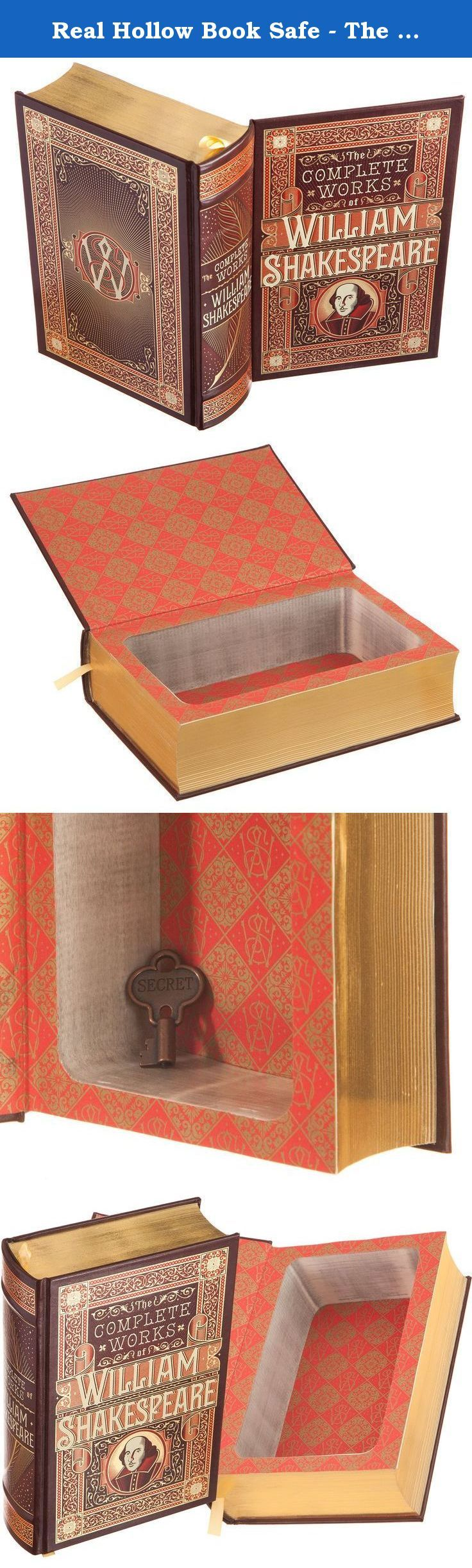 Real Hollow Book Safe - The Complete Works of William Shakespeare (Leather-bound) (Magnetic Closure). A hollow book is the age-old way to hide your stuff in plain sight -- whether it's cash, jewelry, or secret love letters. They make gift giving super easy; just fill the book with anything you want to give your recipient, and you have a uniquely presented gift! Also use them when traveling to keep your valuables from prying eyes. This leather-bound hollow book made from The Complete Works…