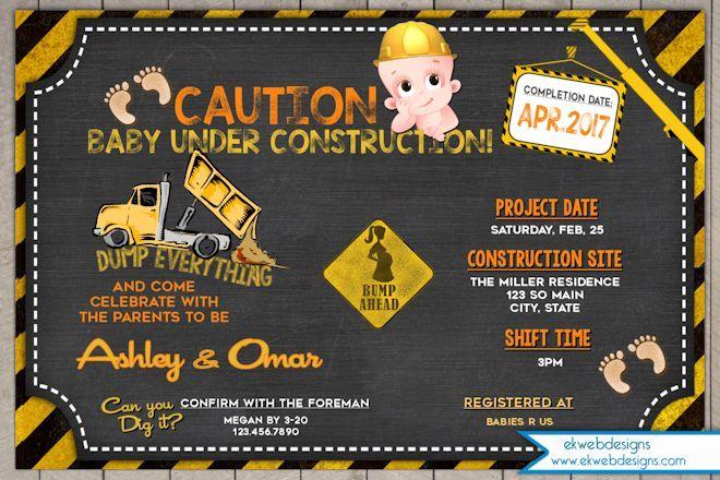 Construction Baby Shower Invitation - Under Construction baby Shower Invite
