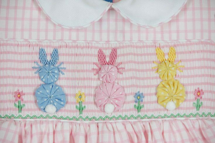 Anavini pink checked smocked dress with pastel bunnies,pink checked smocked dress with bunnies,baby girls smocked Easter dress,toddler girls smocked Easter dress,girls smocked Easter dress,matching brother sister Easter outfits