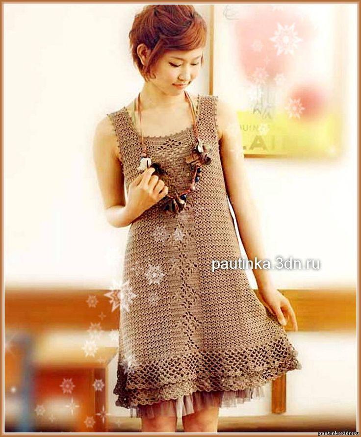 Вязаное платье коричневого цвета - Схемы вязания платья - Схемы для вязания - Уроки вязания крючком - Вязание крючком, схемы для вязания крючком