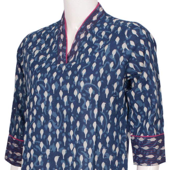 Buy online Hand Block Printed Indigo Blue Cotton Kurta With 3/4th Sleeve 10012925