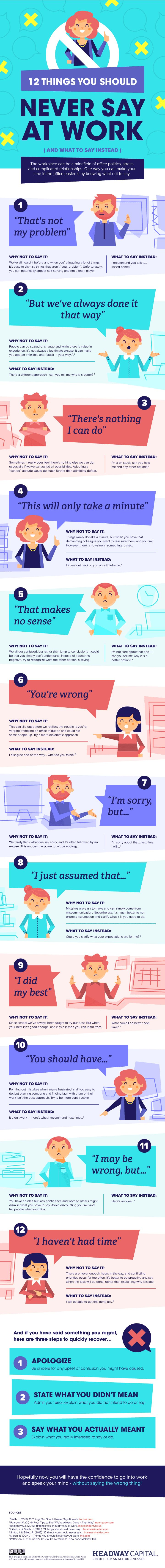 12 Things You Should Never Say At Work #infographic #EmployeeBenefits #Workplace #Office