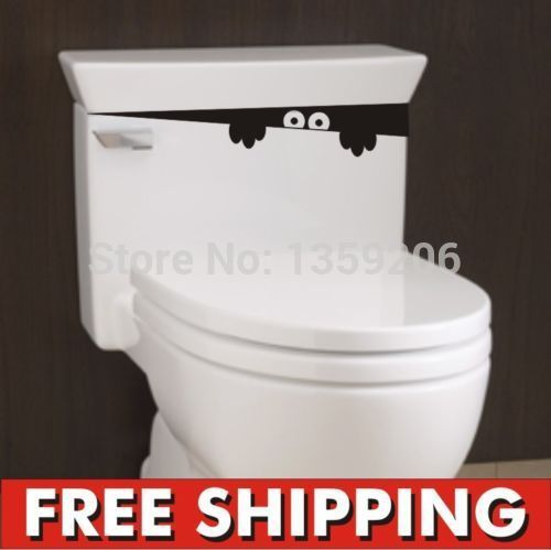Criativo wc monstro banho decalque engraçado vinil parede adesivo removível DIY alishoppbrasil
