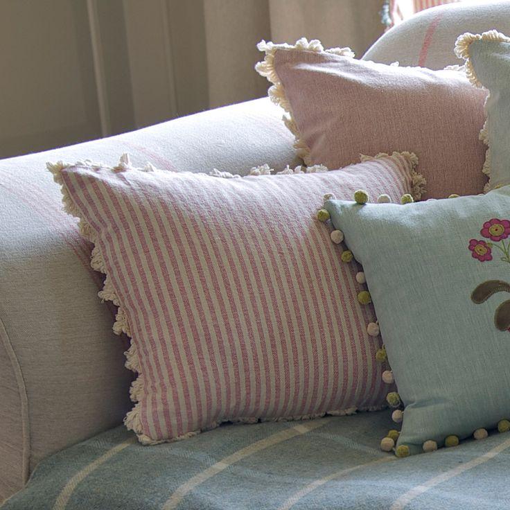 Plain Cushion - Rose Ivory Stripe T/Weave Fringe | Susie Watson Designs