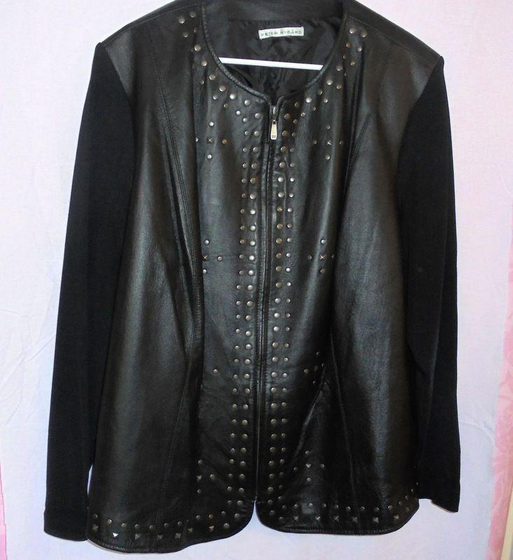 PETER DYGARD Nice Black JACKET Bronze STUDS  Size:L Lined Fabric Sleeves #PeterDygard #LeatherJacket #Casua