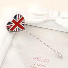 Europa america inghilterra di modo di stile vintage accessori brooch della lega modello di bandiera a forma di cuore grandi spille monili semplici pl(China (Mainland))