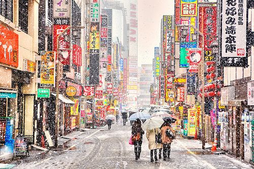 Snow in the red-light entertainment district of Kabukicho, Tokyo.