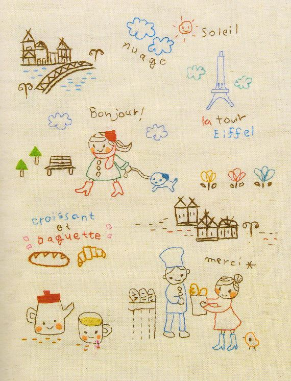 Set of France story Embroidery