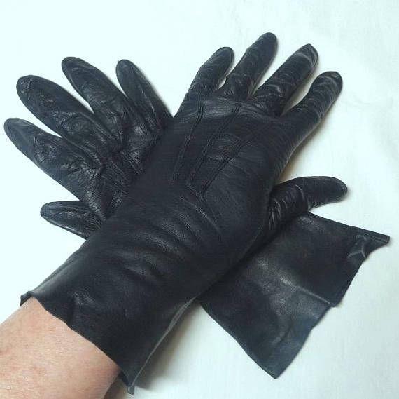 060cf6aa1 1960s Navy Kid Leather Gloves by Nan Noble, Bracelet Length, Size ...