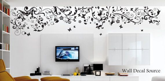 Floral Wall Decal  Large Floral Decal  Vinyl by WallDecalSource, $135.00