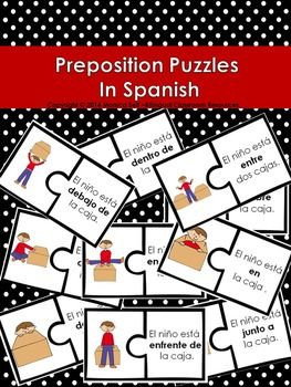 FREE - Preposition Puzzles In Spanish