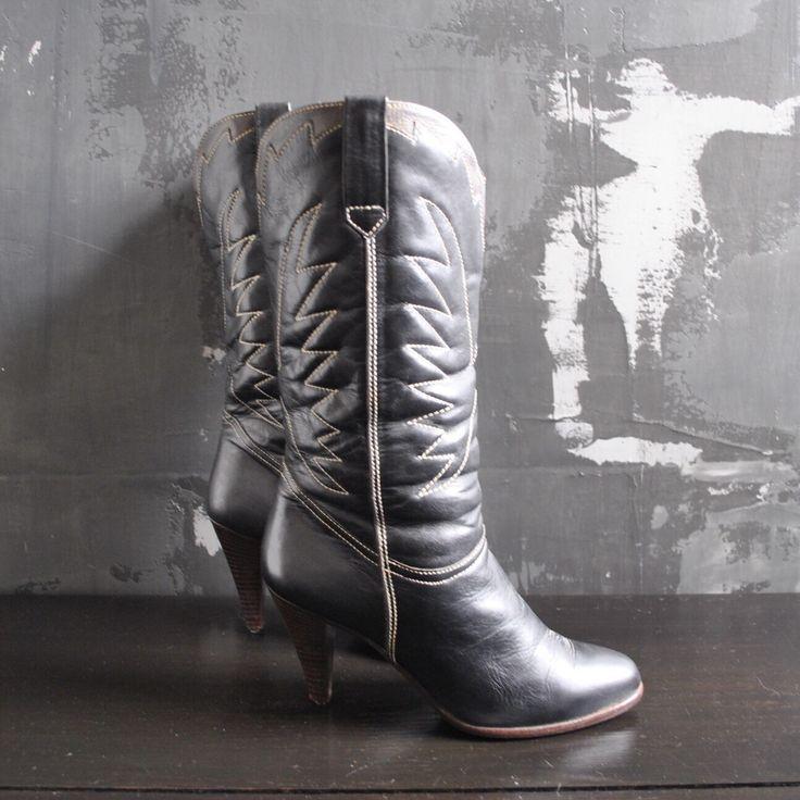Brazilian leather high heeled boots. https://www.etsy.com/listing/281352838/black-high-heel-cowboy-boots-brazilian