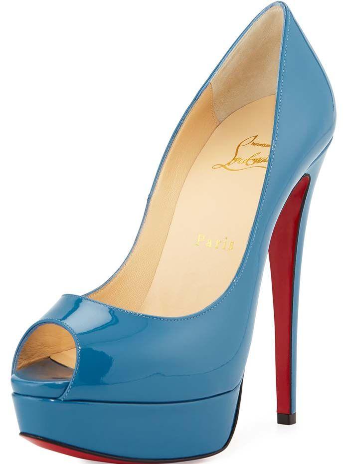 Christian Louboutin Lady Peep Patent Platform Blue
