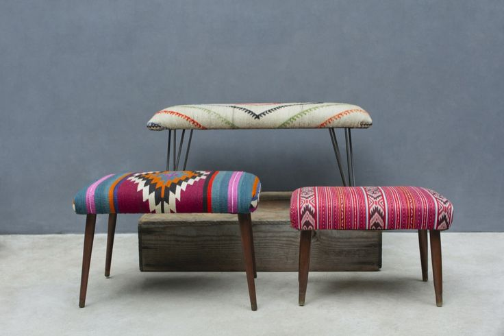 "Vintage fabrics create truly unique upholstered benches. Steel hairpin legs or vintage mid-century tapered wood legs. Choose kilim or suzani fabric in a variety of colorways. Button-tufting and tacking detail options available. Choose 24"", 36"""