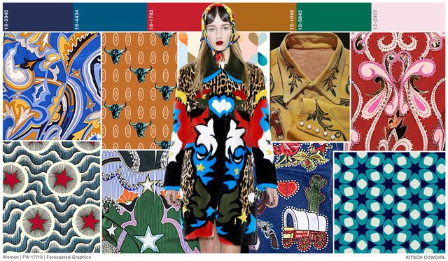 FASHION VIGNETTE: A/W 2017     KITSCH RODEO      The cowgirl image is back, although for Fall it takes a modern, fun and vivid twist as the repeated patterns are over the top in color and size and illustrated scenes add strength.