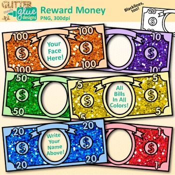 Classroom Reward Money: Boost your classroom management system by providing incentives for positive student behavior through the use of classroom rewards. Design a classroom economy with this money clipart by inserting your face under each bill. Write your name on the arched ribbon above and you have yourself some reward bucks for students to earn.You Will Receive: 36 color images in .png format 6 blackline images in .png format 6 Bill Faces ($1, $5, $10, $20, $50, $100) in 6 colorsYou…