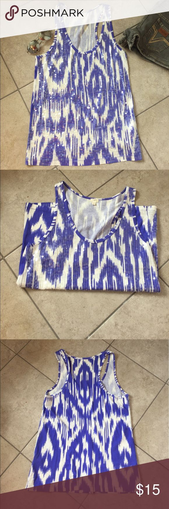 J. Crew Factory purple Ikat sequin tank top Beautiful Ikat-patterned tank top. Purple (blue-purple) ikat pattern with sequins on the front. Size S. J. Crew Factory. 100% cotton. J. Crew Factory Tops Tank Tops