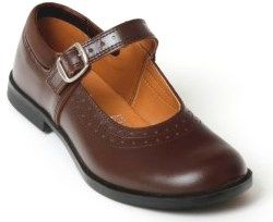 Kids school shoes in adult sizes! T-bar Mary Jane Toughees Kate Girls School Shoes, Brown Leather Buckle