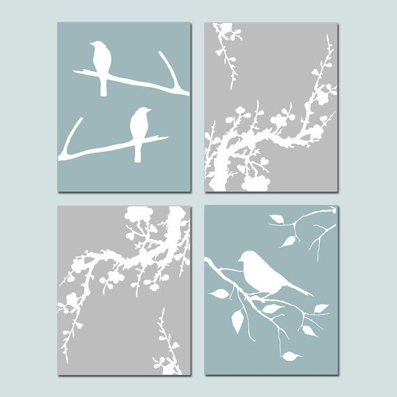 Bird Cherry Blossom Bedroom Art Quad  Set of Four 8x10 by Tessyla, $65.00