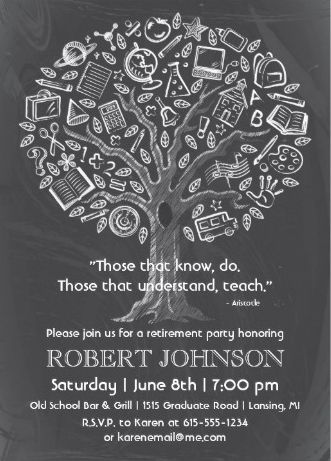 Chalkboard tree of knowledge vintage #retirement_party_invitations