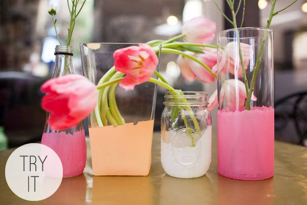 Pretty Painted Centerpieces by Project Wedding