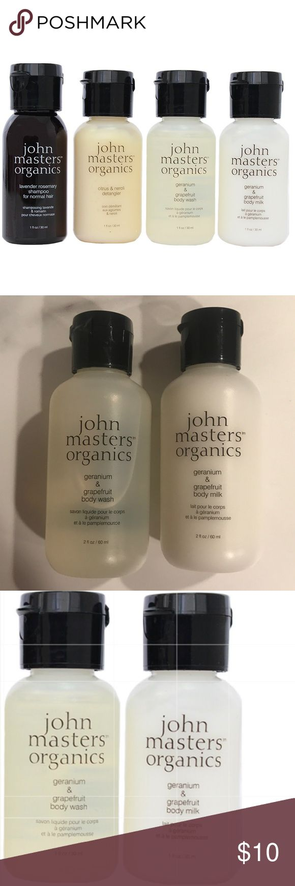 NWT John Masters Organics Geranium/Grapefruit Duo NEW WITH TAGS, NEVER USED John Masters Organics Geranium & Grapefruit Body Milk & Body Wash  BODY MILK IS A LIGHT LOTION, WHILE THE BODY WASH IS A GENTLE, NON-DRYING CLEANSER  Lightweight Body Milk formula absorbs quickly & provides moisture & softness. Body Wash lathers into a rich, creamy foam gently washing away dirt & oil without drying out skin. Both have essential oils of geranium, grapefruit & lavender which nourish & leave you with a…