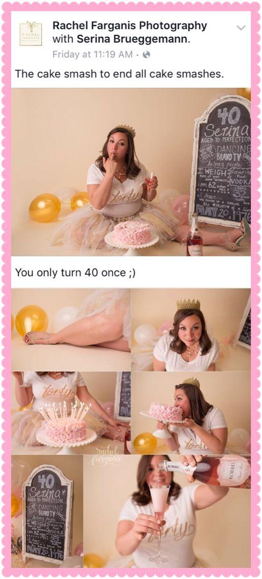 40th birthday cake smash http://www.rachelfarganisphotography.com/