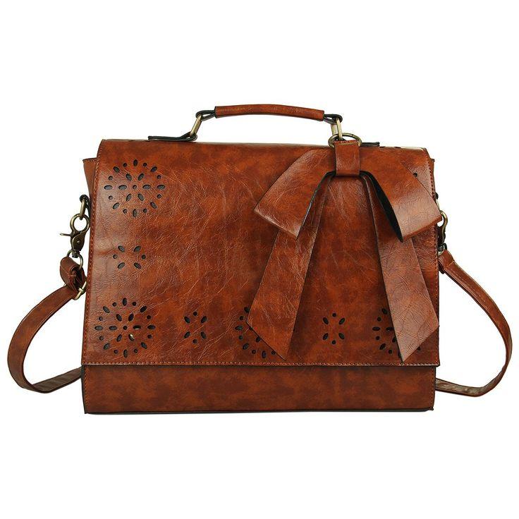 Ecosusi Women Large Vintage Leather Messenger Bag Lady Top Handle Briefcase Handbag Satchel (Brown)