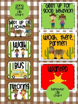 western themed behavior clip charts and other classroom systems